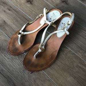 "Coach Wedge Thong sandal pumps 1.5"" heels Leather"